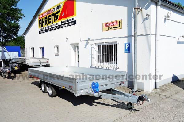 Temared Autotrailer mit Bordwänden CarPlattform 4020S Aluboden
