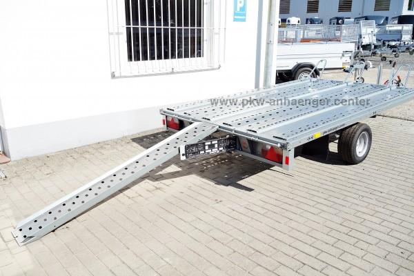 3er Motorradanhänger Stema Hochlader 100km/h 1500kg 301x183cm