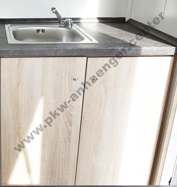 Waschbecken mit Unterschrank für Seller Verkaufsanhänger