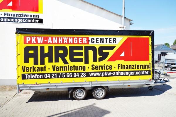 Mietanhänger Hochlader Plane & Gestell 2700kg 505x200x200cm